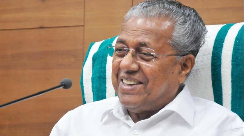 Chief Minister Pinarayi Vijayan during the press meet held at North Block conference hall in Thiruvananthapuram on Tuesday. (Photo: DC)
