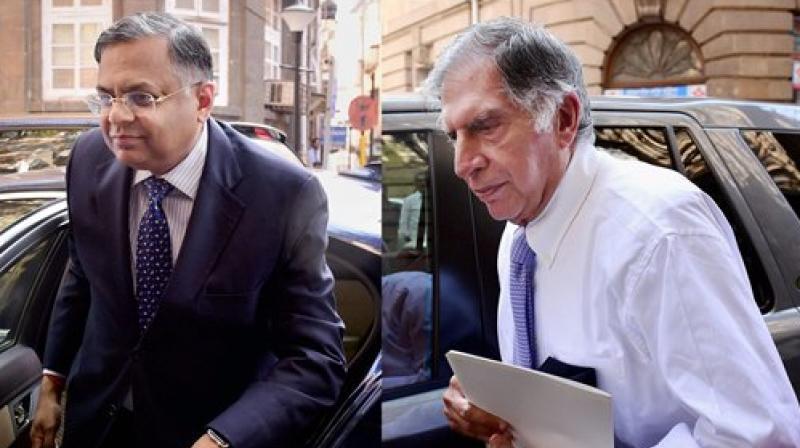 Tata Sons chairman N Chandrasekaran and Tata Group patriarch Ratan Tata. (Photo: PTI).