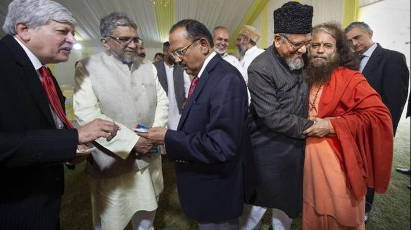National Security Advisor Ajit Doval held a meeting with eminent Hindu and Muslim religious leaders on Sunday, a day after the Supreme Court verdict in the Ayodhya case, officials said. (Photo: PTI)