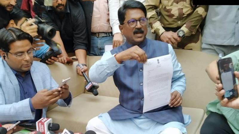 After tendering his resignation as Union Minister, Shiv Sena MP Arvind Sawant blamed its ally Bharatiya Janata Party (BJP) for not keeping its promise on the 50:50 formula. (Photo: Twitter/ ANI)