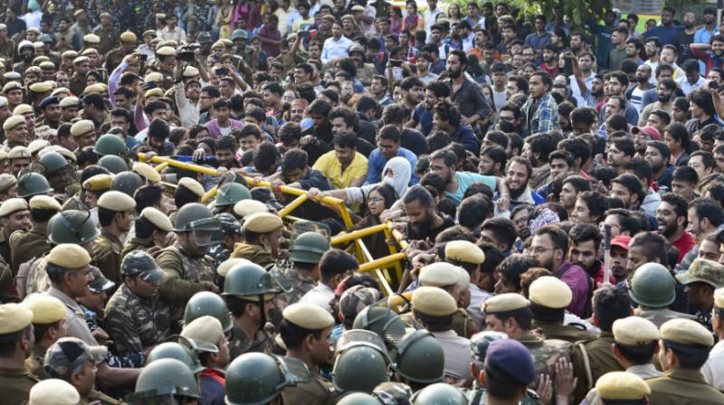 """The protesting students of Jawaharlal Nehru University Students' Union (JNUSU) have said the varsity is facing an """"academic emergency"""" and demanded the removal of V-C M Jagadesh Kumar """"for his inability to carry out the role of a Vice Chancellor in any reasonable and democratic manner"""". (Photo: PTI)"""