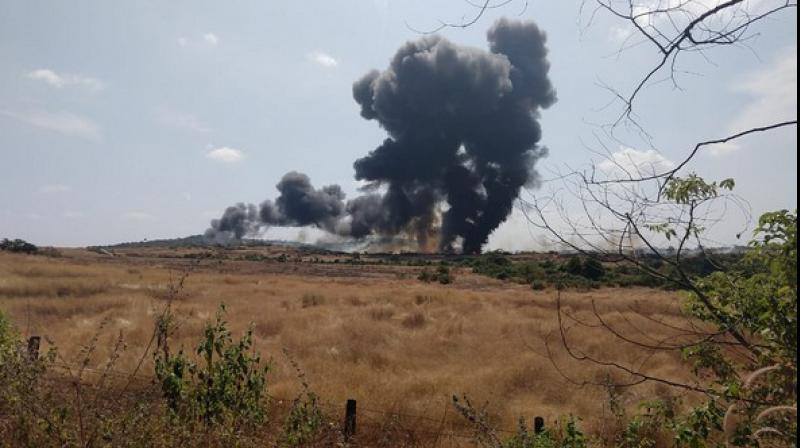 A MiG-29K fighter aircraft crashed in Goa soon after it took off for a training mission, said Indian Navy sources. (Photo: ANI)