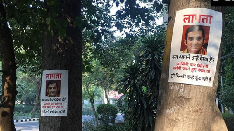 """""""Missing"""" posters of Bharatiya Janata Party lawmaker Gautam Gambhir, who drew criticism for skipping a crucial meeting two days ago on pollution, purportedly surfaced across Delhi on Sunday. (Photo: ANI)"""