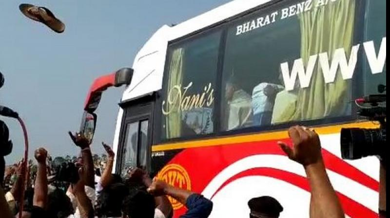 The slipper, hurled by someone from the public, hit the side-window of his seat of the bus he was travelling in. (Photo: ANI)