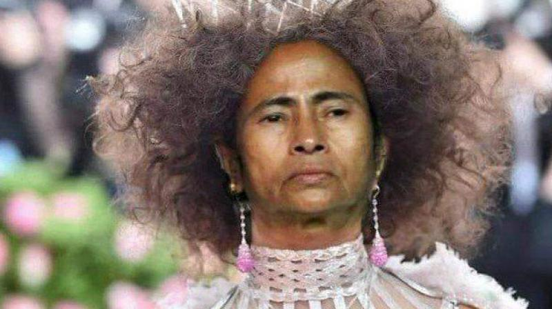 Sharma superimposed Mamata's face on Priyanka Chopra's MET Gala 2019 look. (Photo: Facebook | Priyanka Sharma)