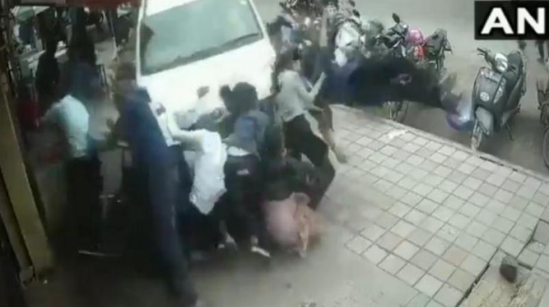 He was allegedly drunk and was caught on CCTV mowing down several people at 3 pm on Sunday. (Photo: ANI | Screengrab)