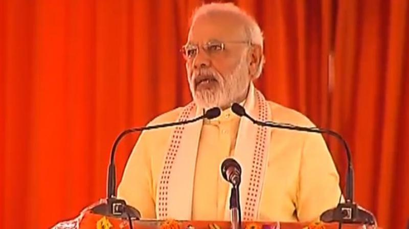 Prime Minister Narendra Modi was in Azamgarh to lay the foundation stone for the 340-km Purvanchal Expressway which will connect Lucknow with Ghazipur at a cost of Rs 23,000 crore.(Photo: Twitter/@BJP4India)