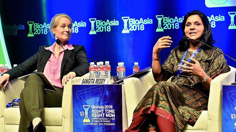 Apollo Hospitals Jt. MD Sangita Reddy and GE Healthcare President & CEO, Sustainable Healthcare Solutions, Terri Bresenham in a panel discussion of Disruption in Healthcare and Life Sciences during the 15th edition of BioAsia at HICC on Friday. — DC