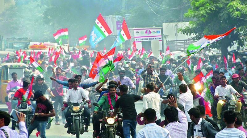 Supporters of former MIM corporator Khaja Bilal Ahmed take out a bike rally to Gandhi Bhavan, on Tuesday. (Photo: DC)