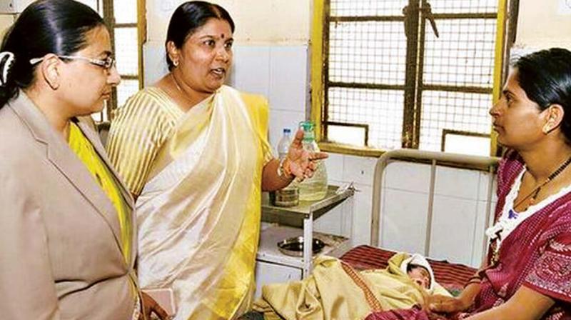 A file photo of Nagalakshmi Bai, Chairperson of  Karnataka State Women Commission at a hospital in Bengaluru. (Photo: DC)