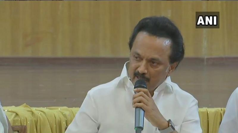 Dravida Munnetra Kazhagam (DMK) chief M K Stalin on Friday announced the constituencies that the party will contest with its allies, including Congress naming the coalition as Secular Progressive Alliance for the upcoming Lok Sabha polls. (Photo: Twitter/ANI)