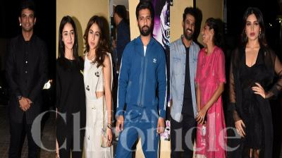 Bollywood celebrities like Sara Ali Khan, Ananya Panday, Vicky Kaushal, Diana Penty, Kubbra Sait and others were spotted at the screening of Sushant Singh Rajput and Bhumi Pednekar starrer Sonchiriya. Check out the pictures here. (Photos: Viral Bhayani)