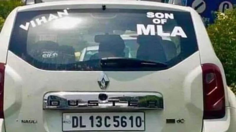 The Akali Dal legislator had retweeted a picture of a white Duster car on July 15 with a sticker 'Son of MLA' on it and had claimed that it belonged to the Speaker's son. (Photo: mssirsa | Twitter)