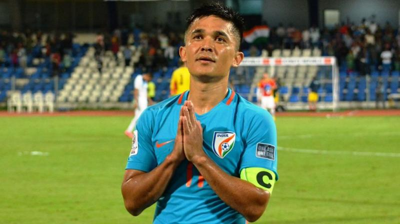 Chhetri, who had come into the match with 62 goals, gave India the lead in the eighth minute before scoring the second goal in the 29th minute to put him on par with Messi. (Photo: AIFF)