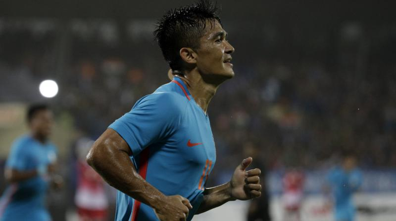 Sunil Chhetri caught up with Argentina skipper Lionel Messi as the second highest joint-active international goal scorer (62), only second to Portugal  favourite Cristiano Ronaldo.(Photo: AP)