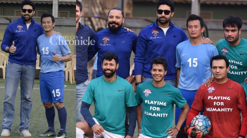 Abhishek Bachchan, football star Bhaichung Bhutia and several other celebrities were seen at the Nike Premiere Cup 2017 on Friday. (Photo: Viral Bhayani)