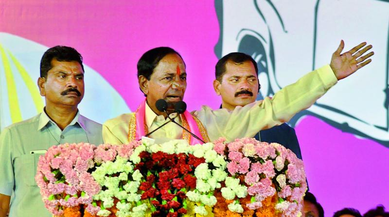 TRS president and Chief Minister K. Chandraekhar Rao addresses a meeting at Nizamabad on Tuesday.