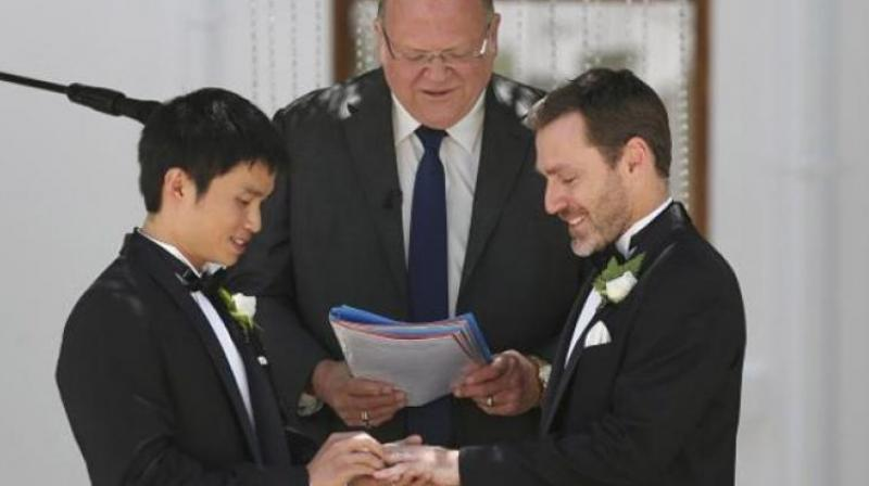 Legalising same-sex marriage found to improve gave men's health. (Photo: AP)