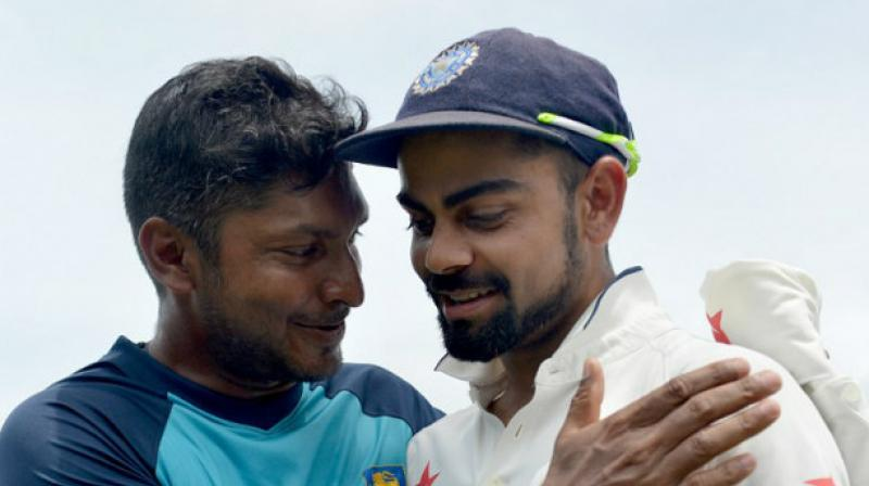 Sri Lanka legend Kumar Sangakkara said that Virat Kohli could break the former's record of 2868 runs in 2014.(Photo: AFP)