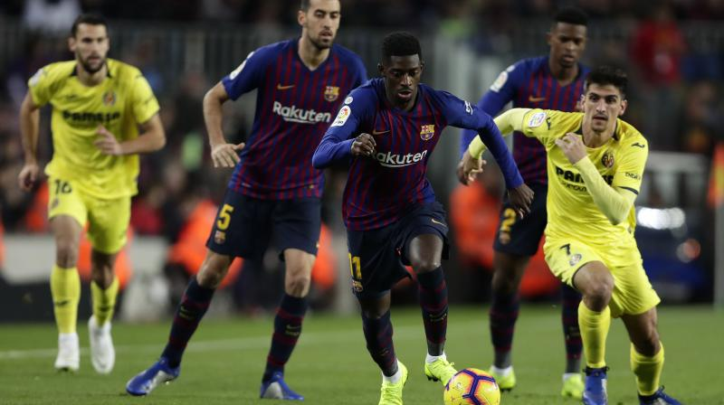 Dembele, dropped last month by coach Ernesto Valverde, was making his second consecutive start and repaid the faith by teeing up Gerard Pique's opening goal in a comfortable 2-0 win at the Camp Nou. (Photo: AP)