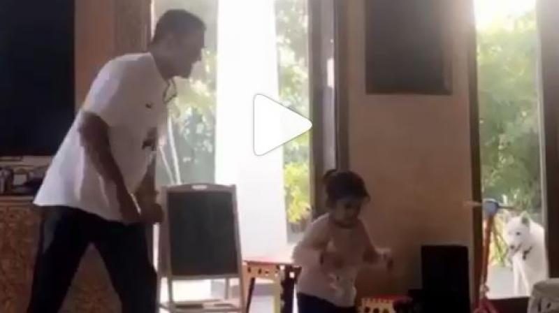 The veteran cricketer shared an adorable video of the duo shaking a leg together. (Photo: Screengrab)