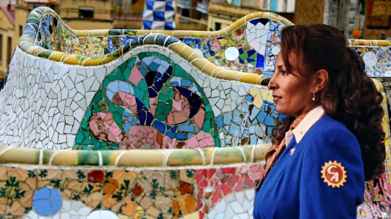 Charles' next which he is  yet to release officially is Jackie Brown from a Quentin Tarantino movie superimposed on  Antoni Gaudi's work as the backdrop.