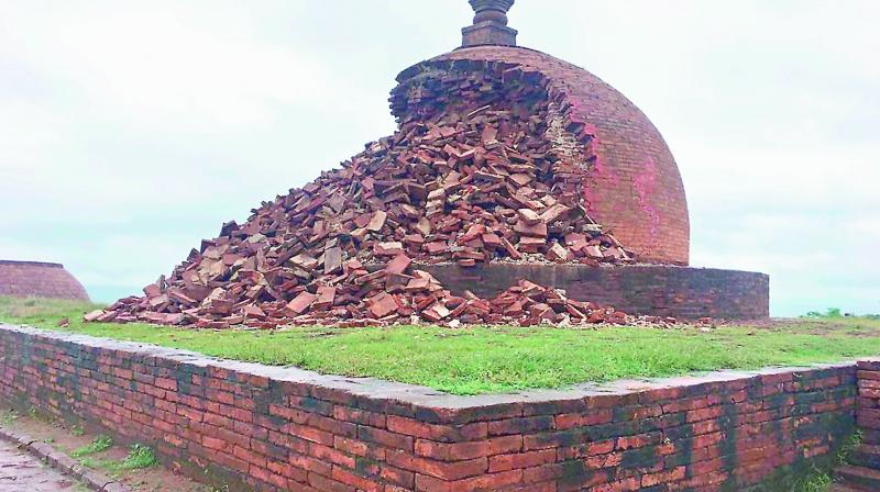 The dome of the Maha Stupa lies in ruins at Thotlakonda on the Visakhapatnam-Bheemili beach road.
