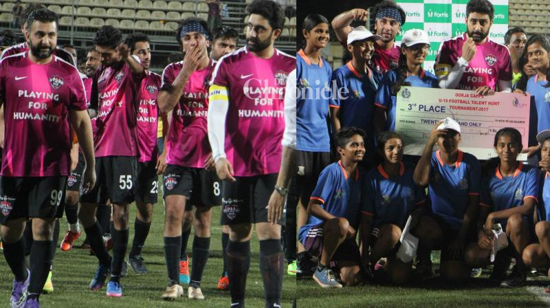 Ranbir Kapoor, Abhishek Bachchan and several other Bollywood stars were snapped as they played a football match against officials of the Central Industrial Security Force (CISF) on Tuesday. (Photo: Viral Bhayani)