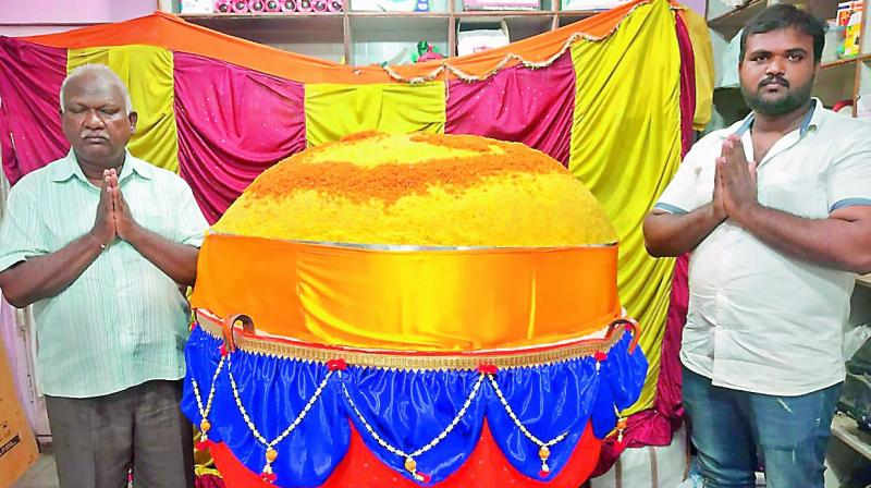 The 750 kg laddu offered by devotees to Lord Ganesha in Hyderabad on Sunday.(Photo: DC)