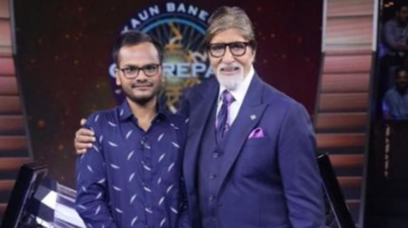 Sanoj Raj and Amitabh Bachchan on KBC 11. (Photo: Twitter)