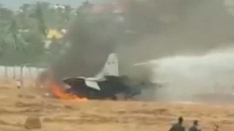 Fire on MiG-29K aircraft being extinguished at Goa airport, after the aircraft went off runway while taking off. (Photo: ANI/Twitter)