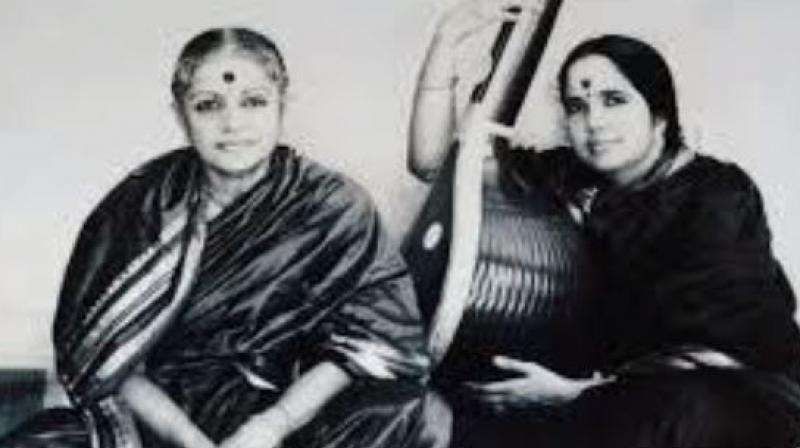 MS Subbulakshmi with daughter Radha Viswanathan. (Photo: YouTube | Kartheek Sharma)