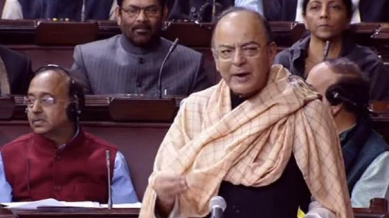 Arun Jaitley in Rajya Sabha. (Photo: ANI)