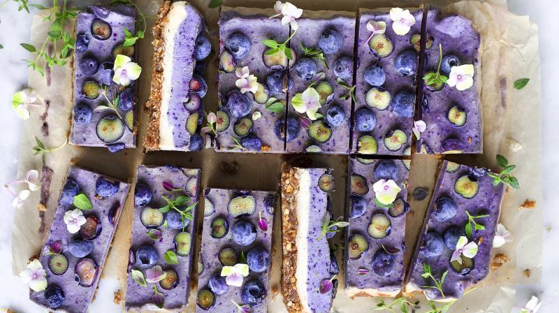 Blueberry Thyme Dream Vegan Cake by cookbook author Virpi Mikkonen. (Photo Credit: Virpi Mikkonen)