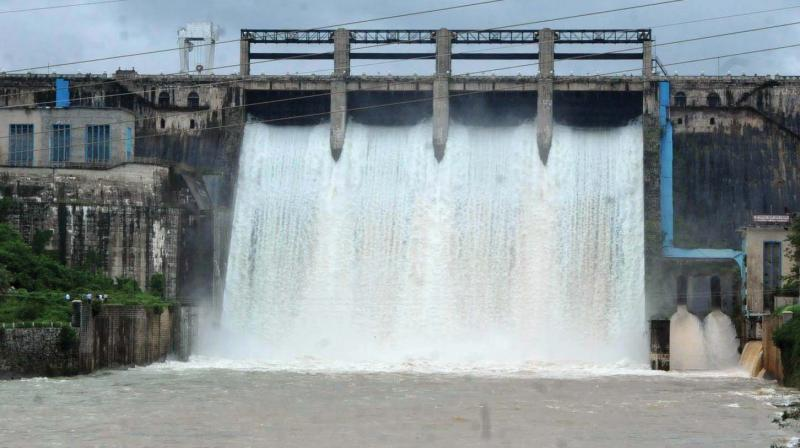 Water being released from Bhadra dam near Chikkamagaluru on Friday.