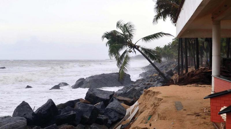 Boulders dumped on the shore to stop beach erosion at Ullal near Mangaluru