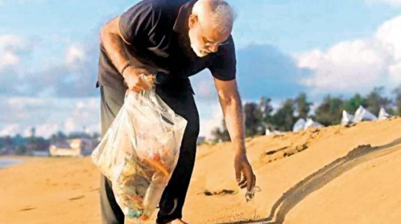 Prime Minister Narendra Modi plogging at the Mamallapuram beach; (top right) Recently, 11,000 kg garbage was removed from Mt Everest in a two-month long cleanliness drive.