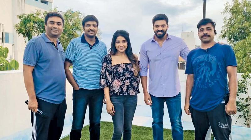 Satish, Sakshi and Arya with crew