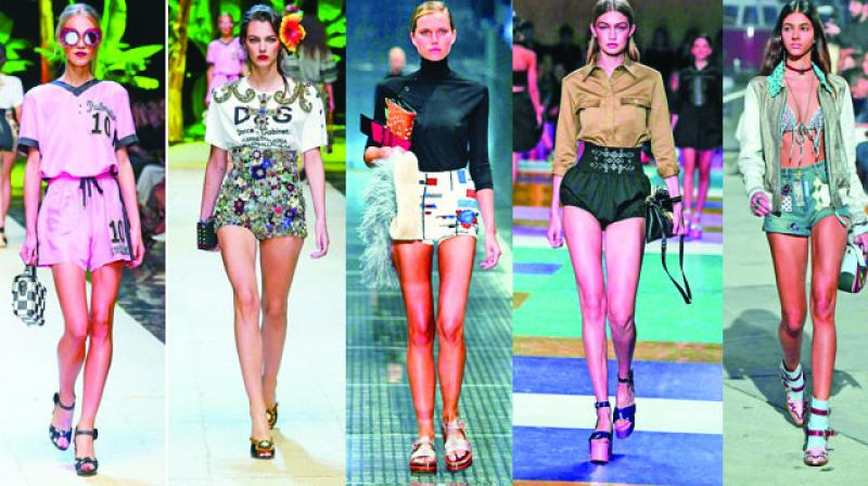 City shorts are another great option as they look great in anything from crisp white linen to brocades and thigh skimming ruffles. Wear it with a blazer, brogues and buttoned-up shirt. You also have skater shorts, which are wide-cut, baggy, low-slung and invariably printed with palm trees or something similar. Wear it with baseball T-shirts, high tops and shades to get the perfect look.