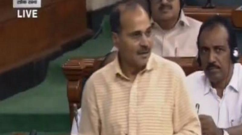 'Puducherry Lt Governor Kiran Bedi in a tweet has humiliated the people of Tamil Nadu and Puducherry in such an outrageous manner that the House should adopt a resolution to remove her from the post. This is our demand,' said Chowdhury while speaking in the Lok Sabha. (Photo: ANI)