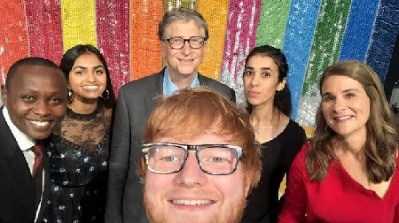 Bill Gates and Melinda Gates with Dysmus Kisilu, Amika George and Nadia Murad - the recipients of Goalkeepers Award for the year 2018 along with Grammy-winning Singer Ed Sheeran during The Goalkeepers 2018 Global Goals Awards, hosted by the Bill and Melin.