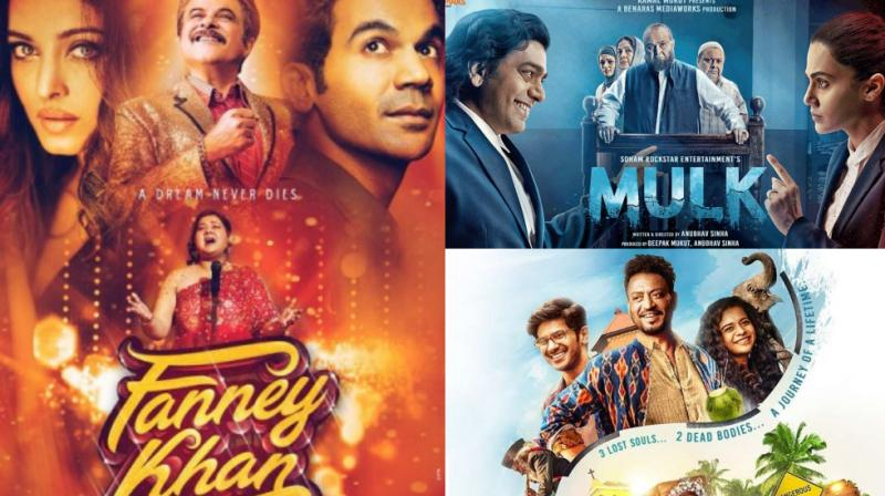 Posters of 'Fanney Khan', 'Mulk' and 'Karwaan'.