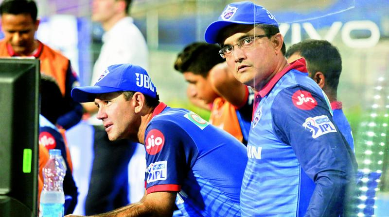 Delhi Capitals' mentor Sourav Ganguly (right) with head coach Ricky Ponting. (Photo: AP)