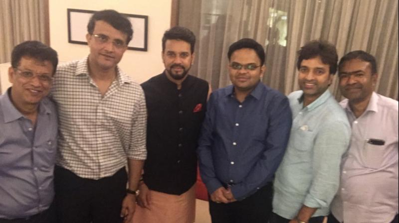 In the picture, Sourav Ganguly can be seen with Jay Shah (set to become Secretary), Jayesh George (set to become BCCI Joint Secretary), Anurag Thakur and Arun Dhumal ( set to become Treasurer). (Photo: Twitter/Sourav Ganguly)