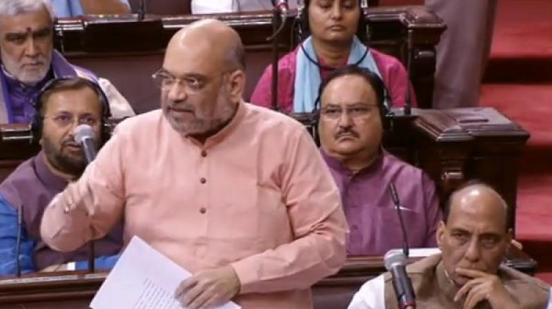 'Rajiv Gandhi signed Assam accord in 1985, which was similar to NRC. They did not have courage to implement it, we did,' BJP chief Amit Shah told Rajya Sabha. (Photo: Twitter | ANI)