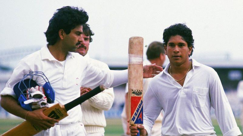 Tendulkar scored 119 runs against England in 1990 and this knock by the batsman helped the side to save the match at Old Trafford. (Photo: BCCI/Twitter)