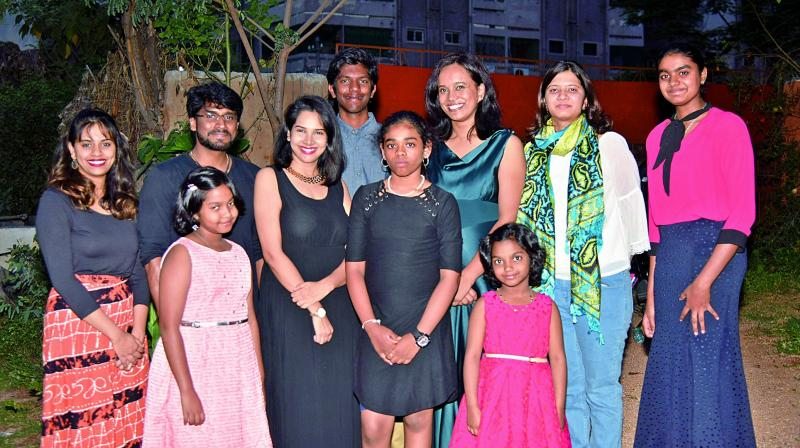 Ashrita D'Souza along with several of her young students performed at the World Music Day celebrations.