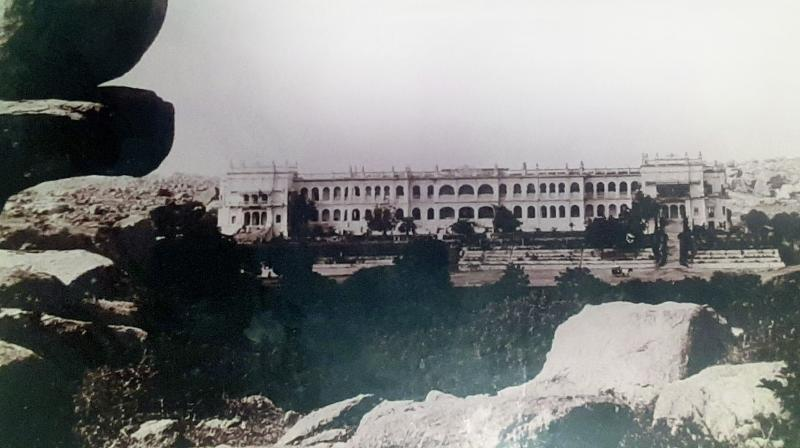 The Errum Manzil Palace before it was acquired by the state government in 1951.  Picture courtesy Dr Mir Asghar Husain.