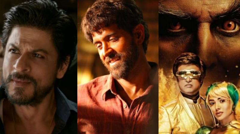 Shah Rukh Khan in 'Raees', Hrithik Roshan in 'Super 30', Akshay Kumar, Rajinikanth and Amy Jackson on '2.0' poster.