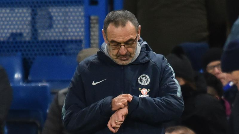 Sarri responded to reports he is in danger of being sacked by mounting a defiant defence of his philosophy. (Photo: AFP)